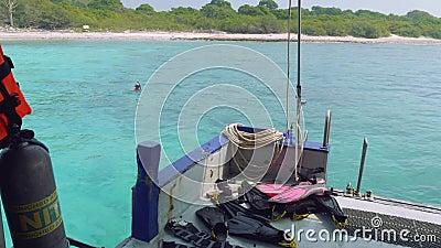 Затворы для нырять на борту, человек готовый для того чтобы нырнуть заплывы в воде видеоматериал