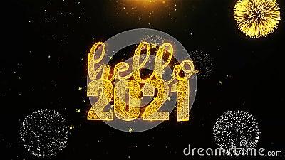 Здравствуйте, 2021 Новый год Текстовое желание на Firework Display взрывные частицы акции видеоматериалы