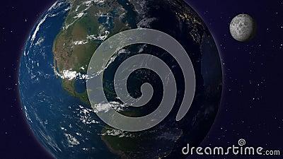 Земля с анимацией луны, версия 6, Америка сток-видео