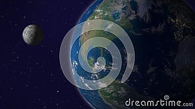 Земля с анимацией луны, версия 5, Америка сток-видео