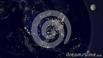 Земля с анимацией луны, версия 1, Америка по ночам иллюстрация штока