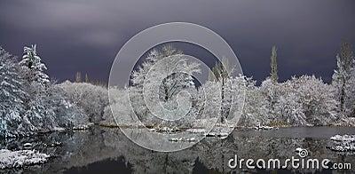 зима озера