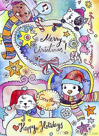 зима праздников карточки