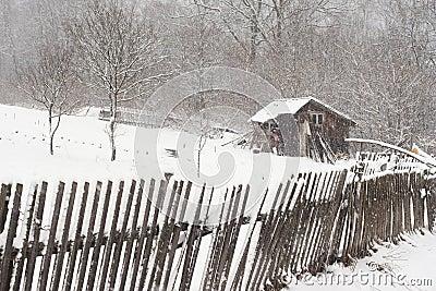 зима сарая пейзажа