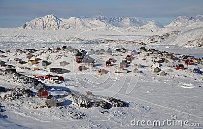 зима села Гренландии дистанционная