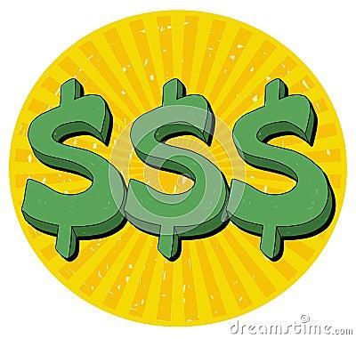 знак иллюстрации доллара
