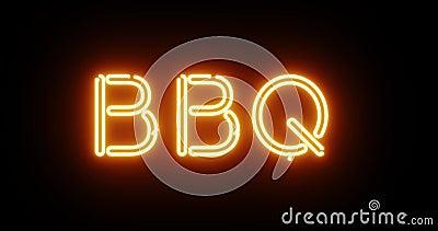 Знак неона BBQ означает, что приготовленная еда для барбекю поджарена - 4k сток-видео