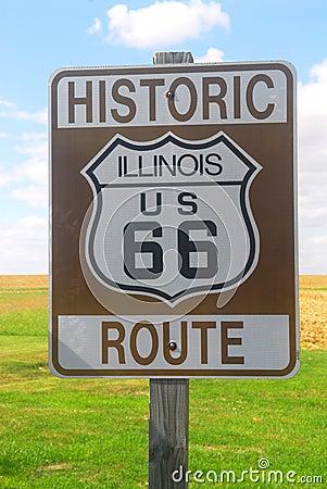 знак трассы 66 illinois