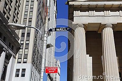 Знак Уолл-Стрит Редакционное Стоковое Изображение