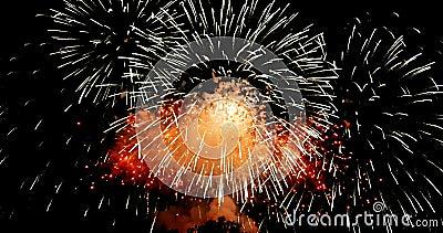 Золотой абстрактный мигающий свет праздника зажигания фейерверки на черном фоне, праздничный счастливый новый год видеоматериал