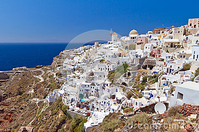 Зодчество городка Oia острова Santorini