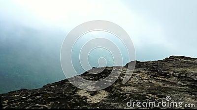 Идя взгляд на скале утеса к верхней части горы после дождя Красивая тропическая экосистема леса и здоровая окружающая среда акции видеоматериалы