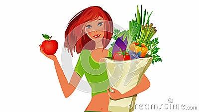 диетпитание принципиальной схемы еда здоровая Девушка с сумкой полной здоровой еды иллюстрация вектора