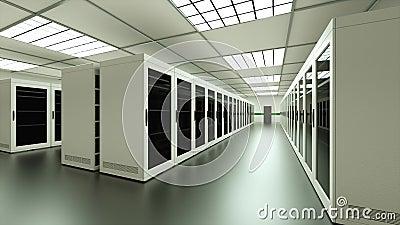 Интерьер большого серверного зала в центре обработки данных, веб-сети и телекоммуникационной технологии Интернета, системе хранен сток-видео