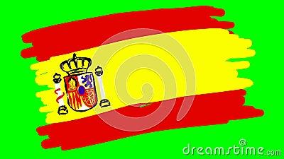 Испания рисует флаг на зеленом фоне иллюстрация вектора