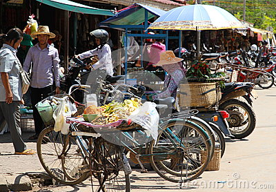 Камбоджийская жизнь улицы Редакционное Стоковое Изображение