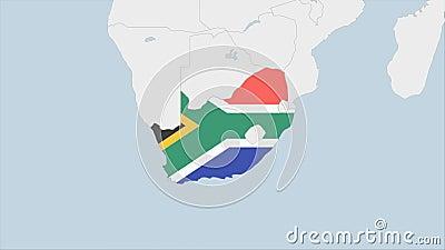 Карта ЮАР, высвеченная в флаге Южной Африки, окрашена в цвета и наконечник столицы страны Претории иллюстрация штока