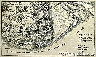 карта 1759 города Квебек заедает