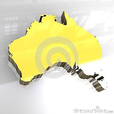 карта 3d Австралии золотистая