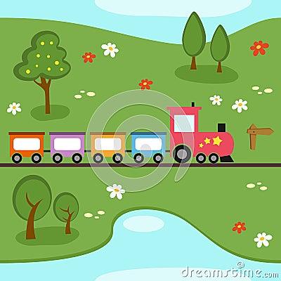 Картина карты поезда безшовная