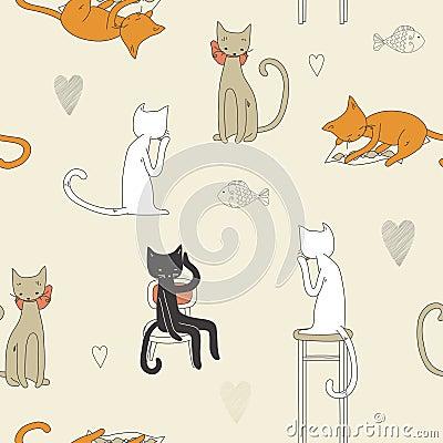 картина кота безшовная