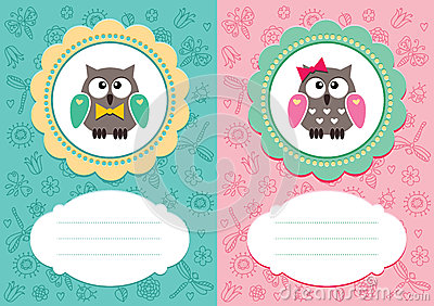 Карточки младенца с милый owlets
