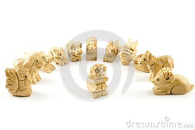 китайский woodcarving знака обезьяны