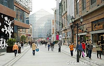Китай: пешеходная улица Редакционное Стоковое Изображение