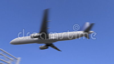 Коммерчески самолет приезжая к авиапорту Campinas Путешествовать к анимации 4K Бразилии схематической сток-видео