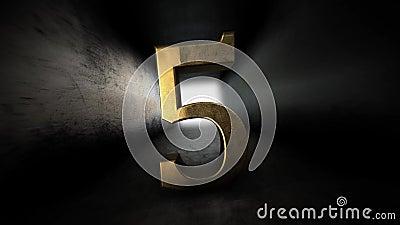 Комплекс предпусковых операций от 0 до 10 число 5 Число 5 золота с каналом альфы 81 иллюстрация вектора