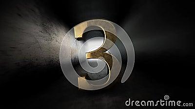 Комплекс предпусковых операций от 0 до 10 Число 3 Число 3 золота с каналом альфы 79 иллюстрация штока