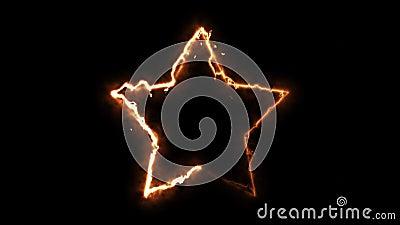 Компьютер создал звезду огня на черном фоне 3d отрисовка абстрактного круга огня акции видеоматериалы