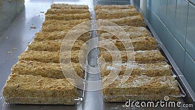 Кондитер брызгает торты напудренным сахаром Продукт пекарни торта Ручное изготовление сладкого десерта с карамелькой или видеоматериал