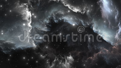 Космический полет через межзвёздное облако Белый карлик в межзвёздном облаке иллюстрация вектора