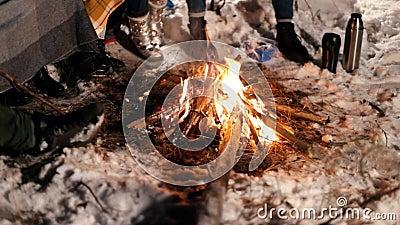 костры Разожженный огонь в nighttime леса зимы сток-видео