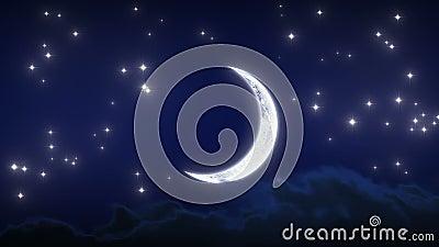 Красивый молодой месяц с звездами и облаками Упущение nighttime Закрепленная петлей анимация HD 1080 видеоматериал