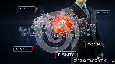Красный цвет концепции работы команды шестерни успеха бизнесмена