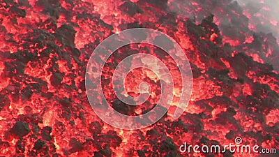 Лавовый поток крупного плана вулкана Этна, Италии сток-видео