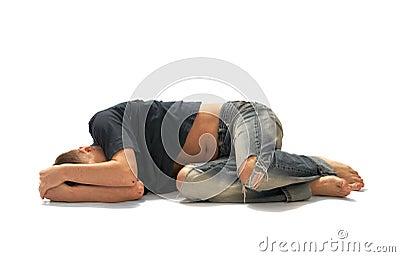 лежа человек