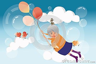 Летание бабушки в небе