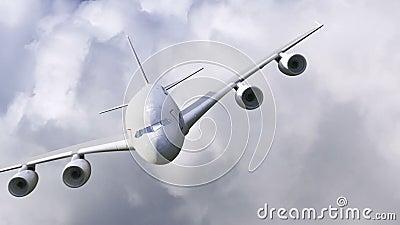 Летание самолета через облака иллюстрация штока
