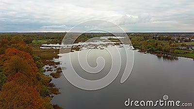 Лети над Долес Сала, вторым самым большим островом Латвии Это полуостров в реке Даугава, недалеко от границ Риги. сток-видео