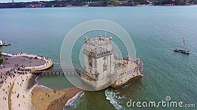 Лиссабон с воздуха над рекой Белем и Тагус видеоматериал