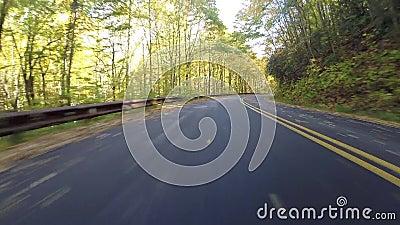 Листья дуя за автомобилем на голубом бульваре Риджа видеоматериал