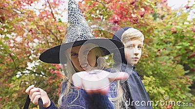 Маленький паук игрушки показа ведьмы в камеру, arachnophobia, страх на хеллоуине видеоматериал