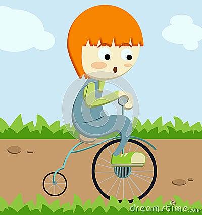 мальчик меньший идущий трицикл