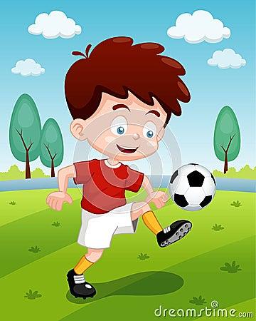Мальчик шаржа играя футбол
