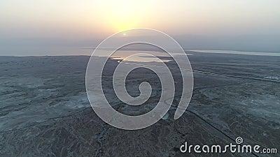 Мертвое море, Израиль, воздушная пустыня взгляда трутня видеоматериал