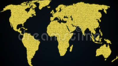 Мировая карта из блестящих частиц 3d рендеринг цифровой планеты Земля Произведенный компьютером абстрактный фон видеоматериал