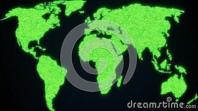 Мировая карта из блестящих частиц 3d рендеринг цифровой планеты Земля Произведенный компьютером абстрактный фон акции видеоматериалы